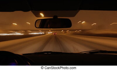 Winter highway Nighttime timelapse - Timelapse clip of...