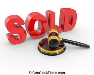 gold judge gavel and inscription sold on white background