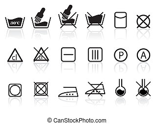 Laundry and Textile Care Symbols - vector icon set