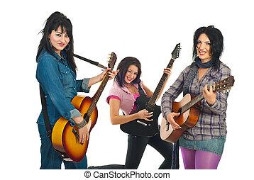 tres, atractivo, guitarras, mujeres