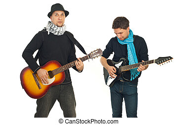 Two handsome guys with guitars - Two handsome guys playing...