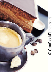 coffee and chocolate cake - Close-up of cup of coffee and...