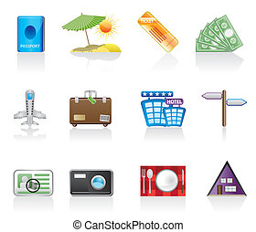 travel and trip icons - vector icon set