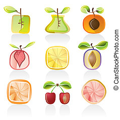 Abstract fruit icons - vector icon set