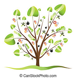 Car Tree with leafs - vector illustration