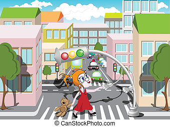 Pedestrian Crossing - Traffic light helps girl to cross the...