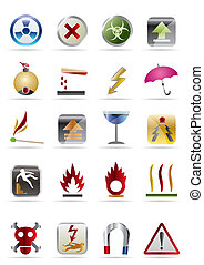 Dangers Signs - Vector Icon Set