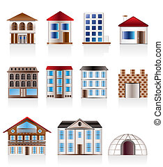 Various variants of houses and buildings - Vector...
