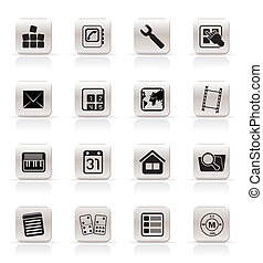 Simple Mobile Phone and Computer icon - Vector Icon Set