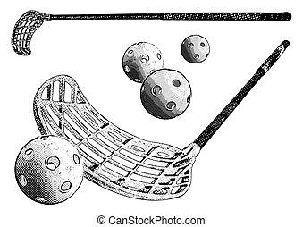 floorball equipment - floorball sticks and balls