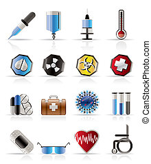 medical themed icons and warning-signs - vector Icon Set