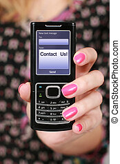 Mobile phone. - Modern mobile phone in hand.