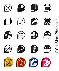 Phone Performance, Internet icons