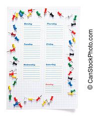 school schedule for the week