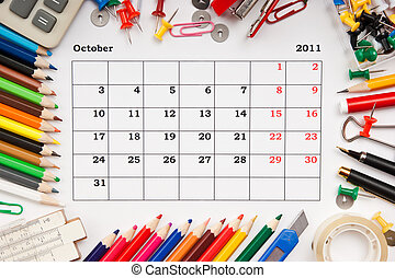 Calendar for October 2011 - a monthly calendar October 2011....