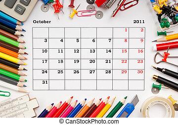 Calendar for October 2011 - a monthly calendar October 2011....