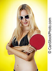Raquete, tênis, excitado, mulher, tabela