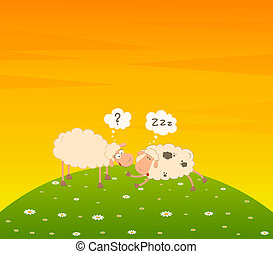 cartoon sheep sleeps on a grass