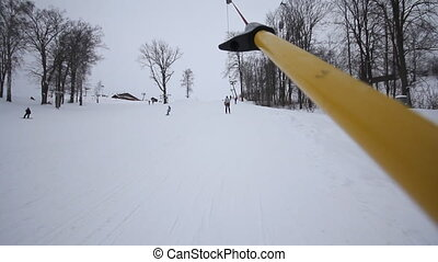 rope tow on the ski slopes