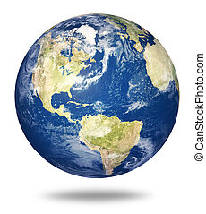 Planet earth on white - America - Planet earth on white...