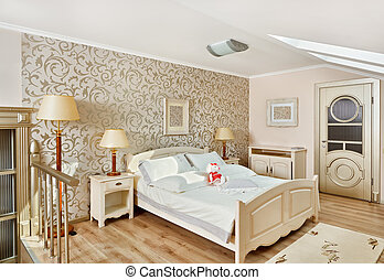 Modern art deco style bedroom interior in light beige colors...