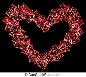 Red heart sign shaped with many 100 dollar banknotes on black