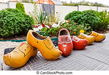 Traditional Dutch Decoration wooden shoes on doorstep -...