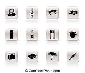 Simple Picnic and holiday icons - vector icon set