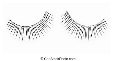 False spangled eyelashes  over white