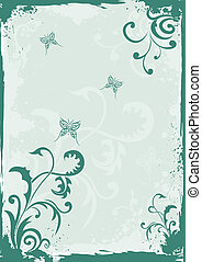 Grunge green floral background - Grunge green floral vector...