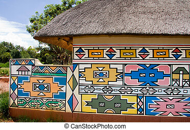 Ndebele house - a hut showing the traditional way in which...