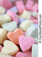Candy hearts background - Little colorful candy hearts...