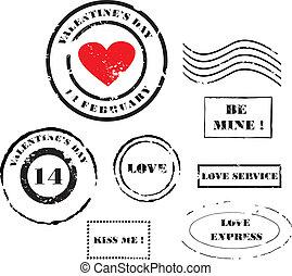 Grunge Valentine's day post stamps