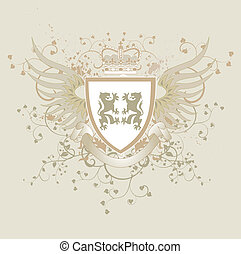 Grunge vintage vector shield with lions