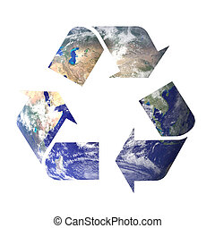 recycle symbol earth - recycle icon symbol filled with space...