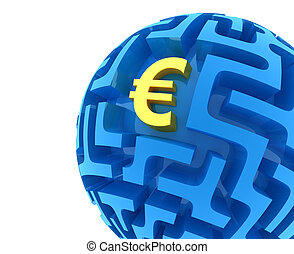 Euro puzzle. Money Sphere Maze