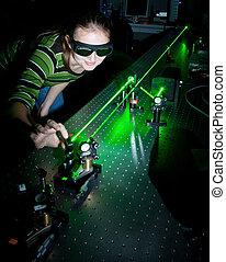 laboratório, pesquisa, cientista, femininas, quantum, óptica...