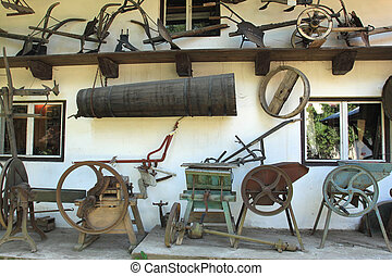 Farming machines - Old agriculture machinery museum in...