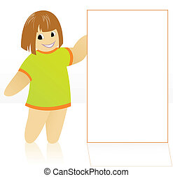 Girl with a poster - cartoon girl in a yellow dress holding...