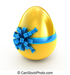 golden egg with ribbon - Easter surprise - golden egg with...
