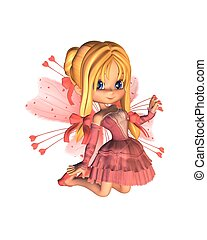 Pink Toon Valentine Fairy - Digital render of a cute toon...