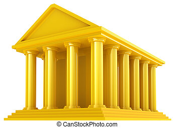 Golden Financial building isolated on white
