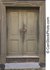 Double Door - Double door with brass handle. Shot from...