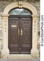 Double Door - Old double door with carving and brass handle...