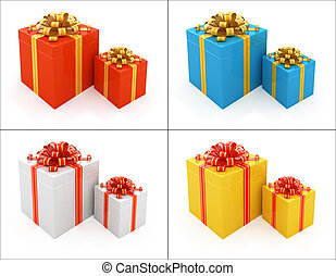 Set of Gift boxes with ribbon