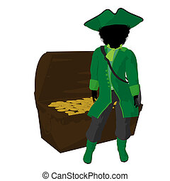 African American Teen Pirate Illustration Silhouette - An...