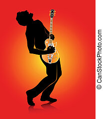 guitarist with an electric guitar on a red background