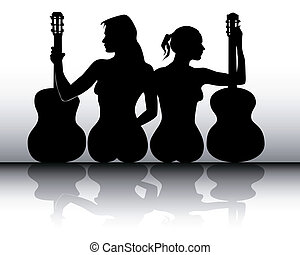 silhouettes of girls with guitars on a gray background