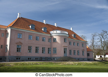Pink Manor House - The manor house at Moesgaard near Aarhus,...