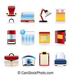 Realistic Business, office and firm icons - vector icon set